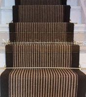 Jute Stair Runner with Brown Stripes / Border